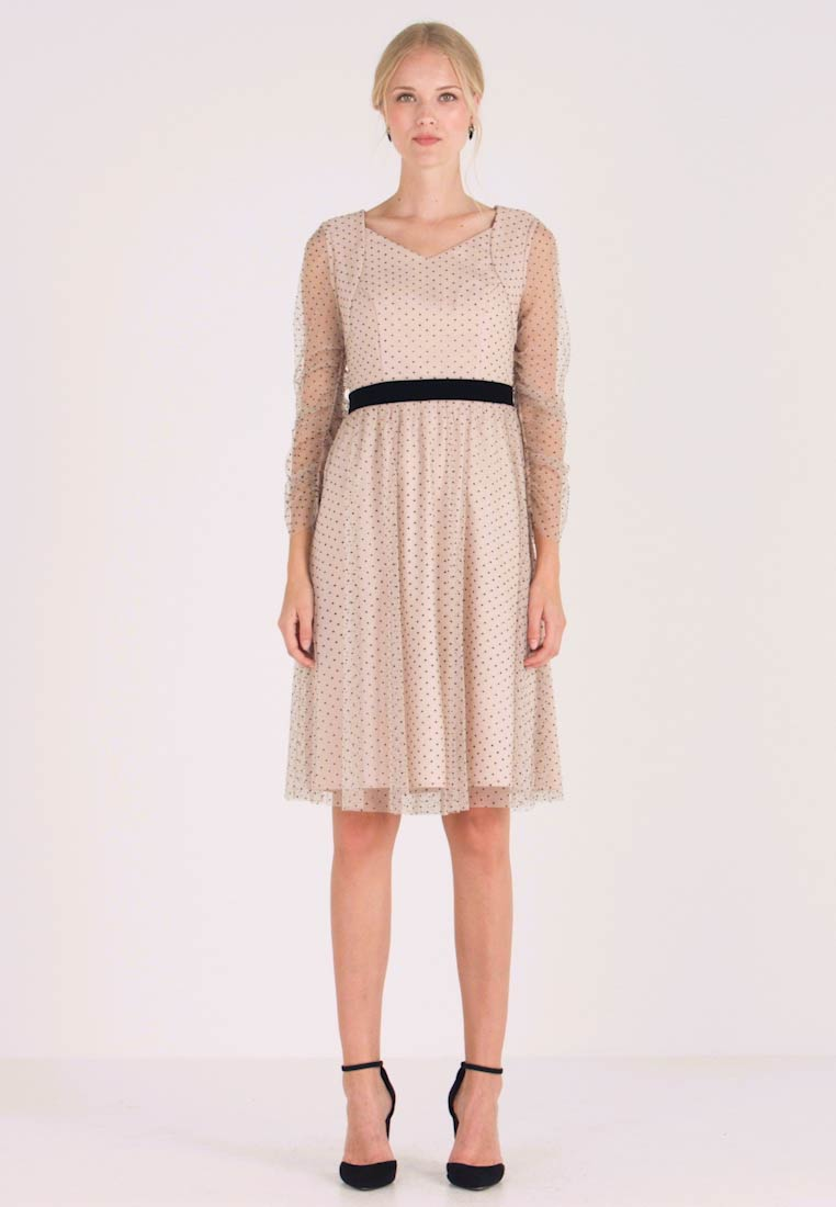 Apart - DRESS WITH DOTS - Cocktail dress / Party dress - nude/black