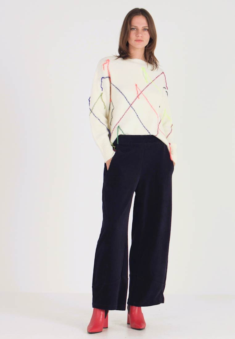 Benetton - WIDE PANTS - Trousers - navy
