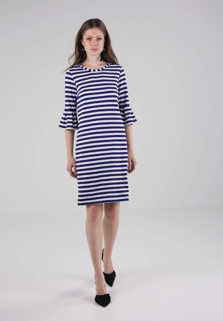 Benetton Shift White Ruffle Dress Stripe blue rwqOr4