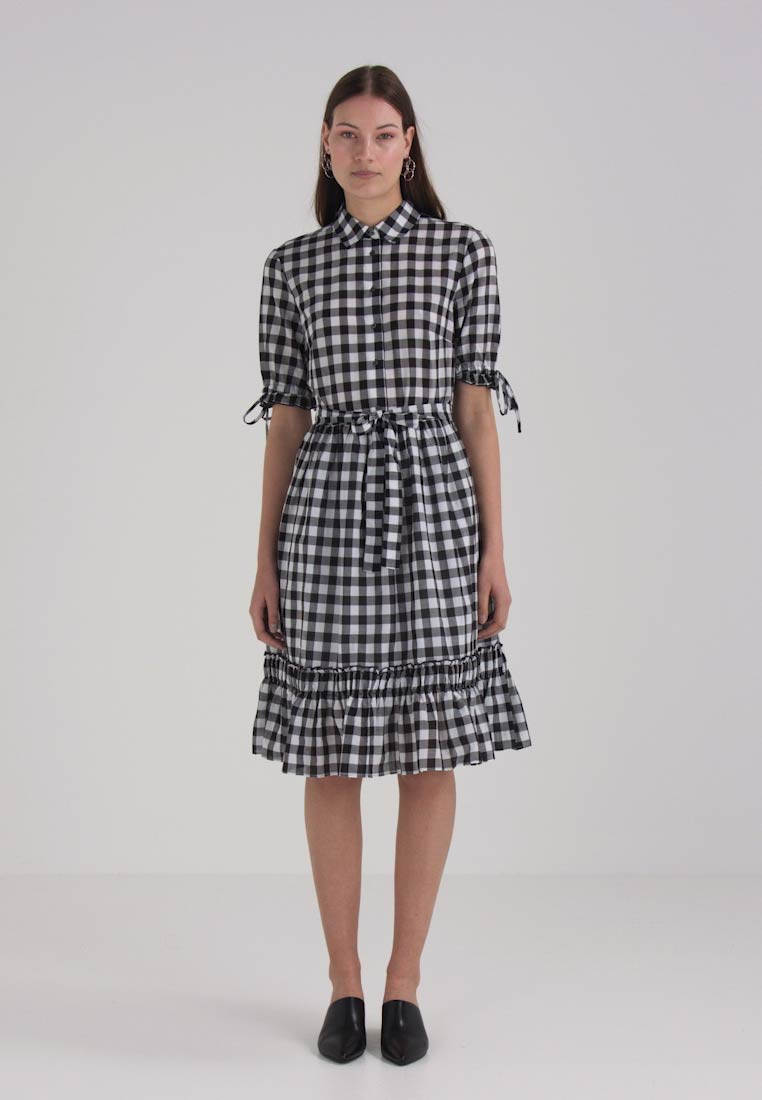 Benetton PRINT HEM Kjole DRESS BIG RUFFLE GINGHAM qHUrqv