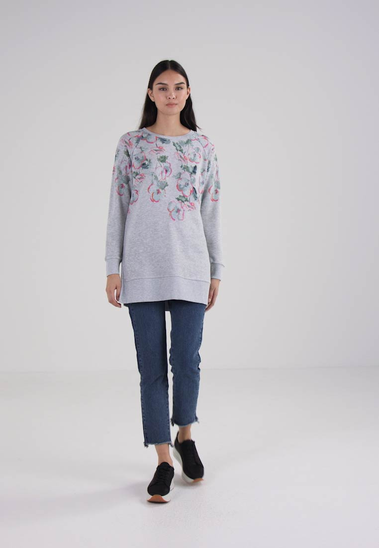 Tom Joule LONG LINE PRINTED - Jumper - grey marl poppy