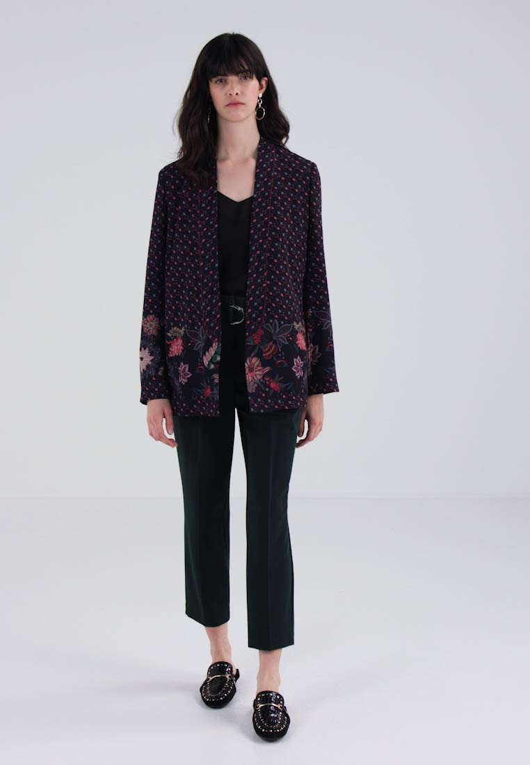 Sisley COLLARLESS PRINTED SOFT  - Blazer - dark blue