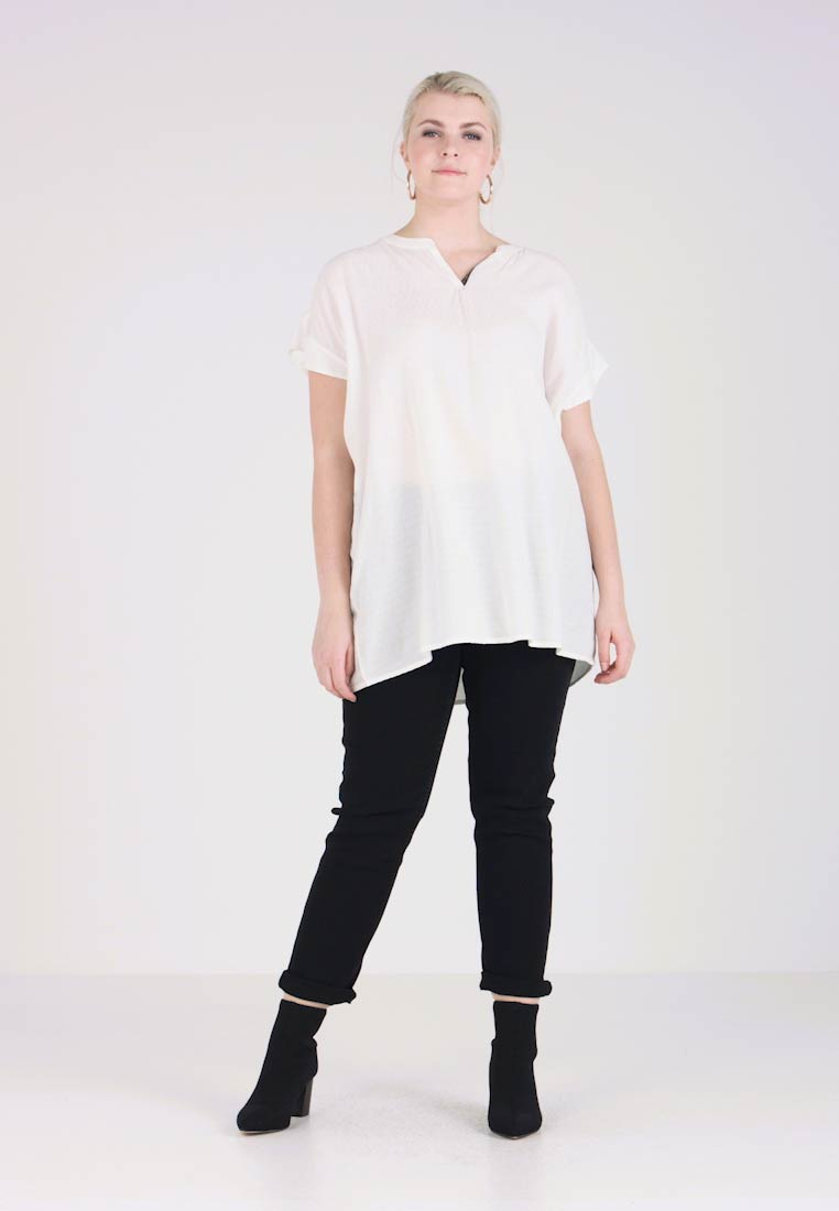 ADIA - ALEXA DOBBY V NECK BLOUSE - Tunika - off white