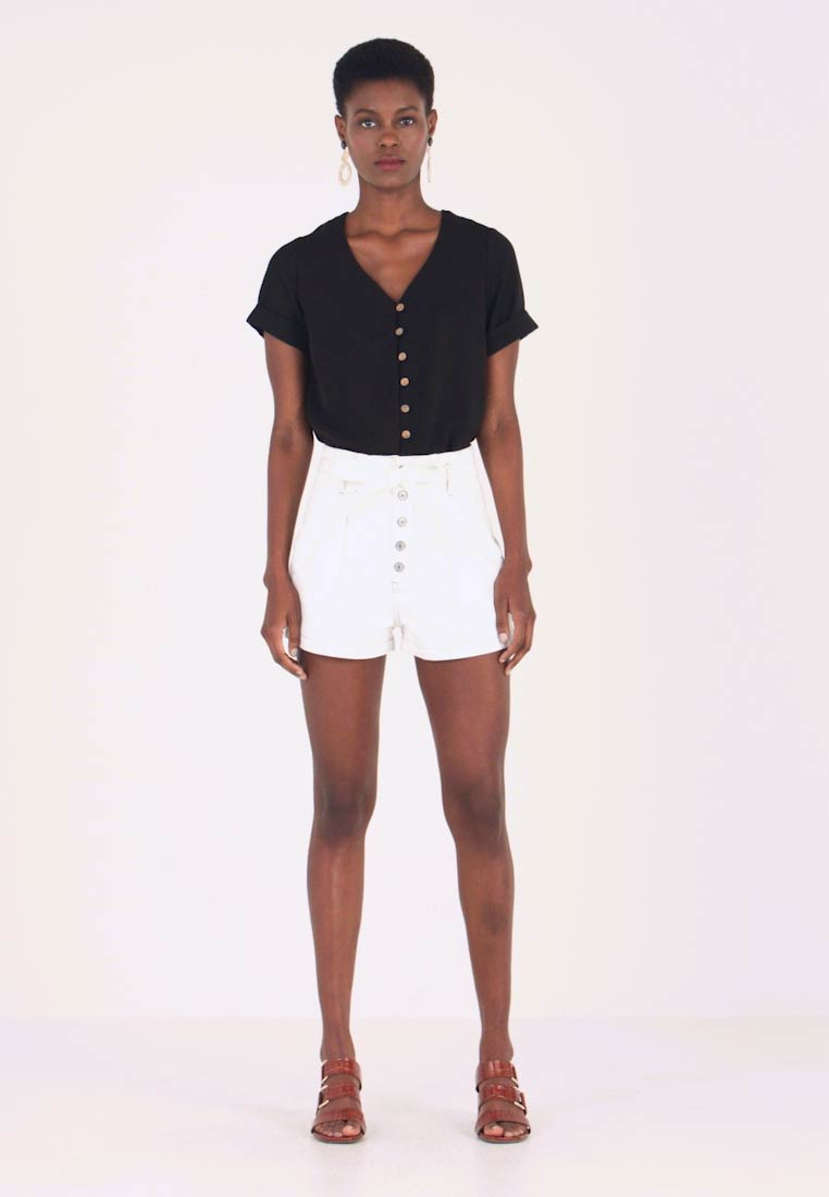 Abercrombie & Fitch - PAPER BAG WAIST - Shorts - white