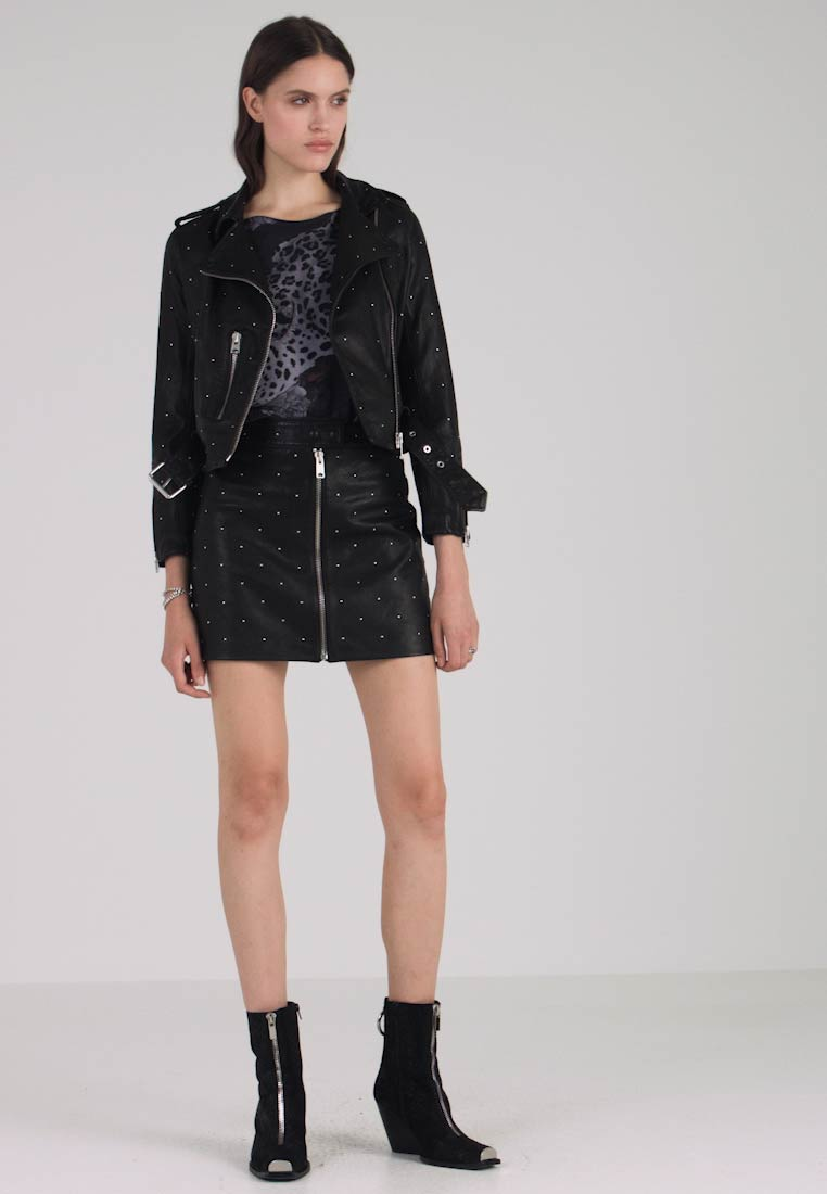 AllSaints - STUDDED BALFERN BIKER - Leather jacket - black