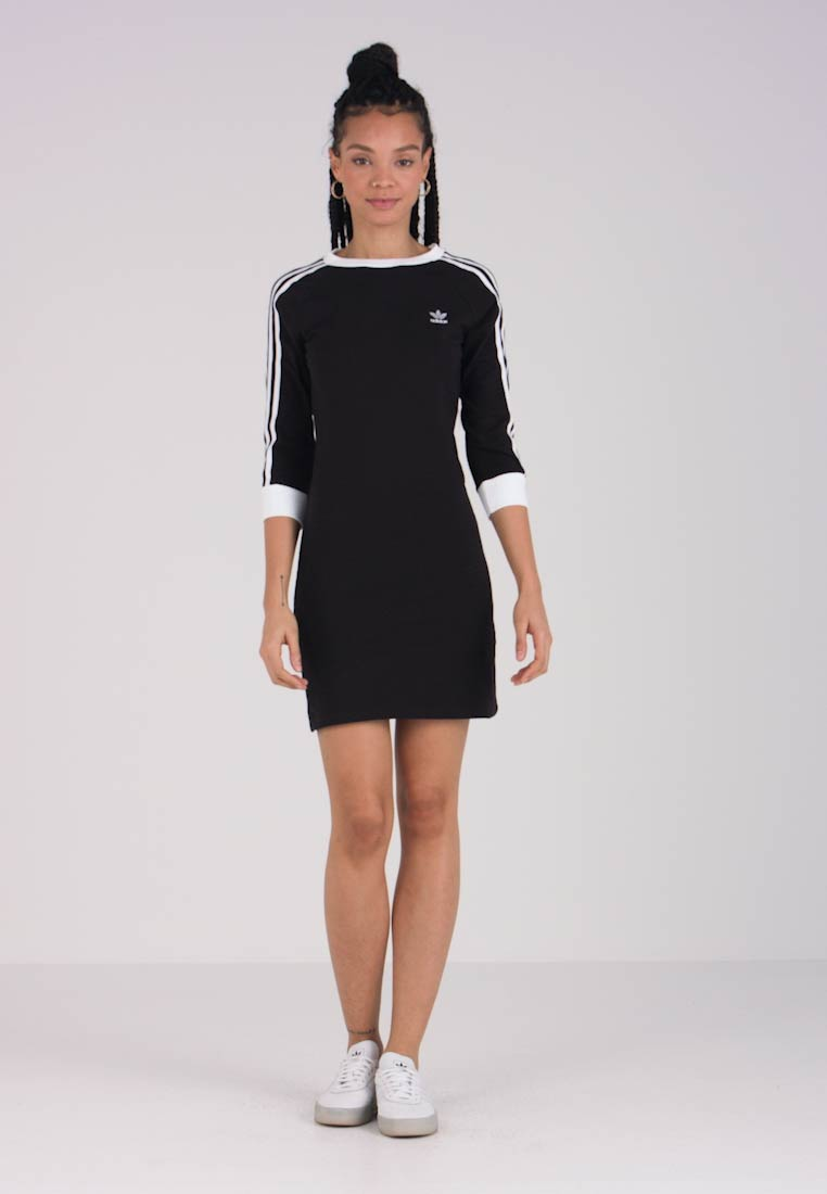 adidas Originals - STRIPES DRESS - Vestito di maglina - black