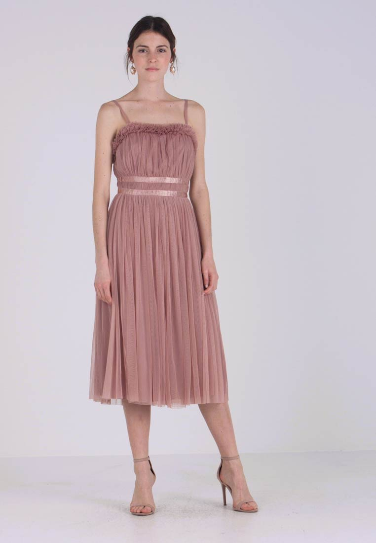 Anaya with love - ANAYA GATHERED RUFFLE MIDI - Vestido de cóctel - pearl blush