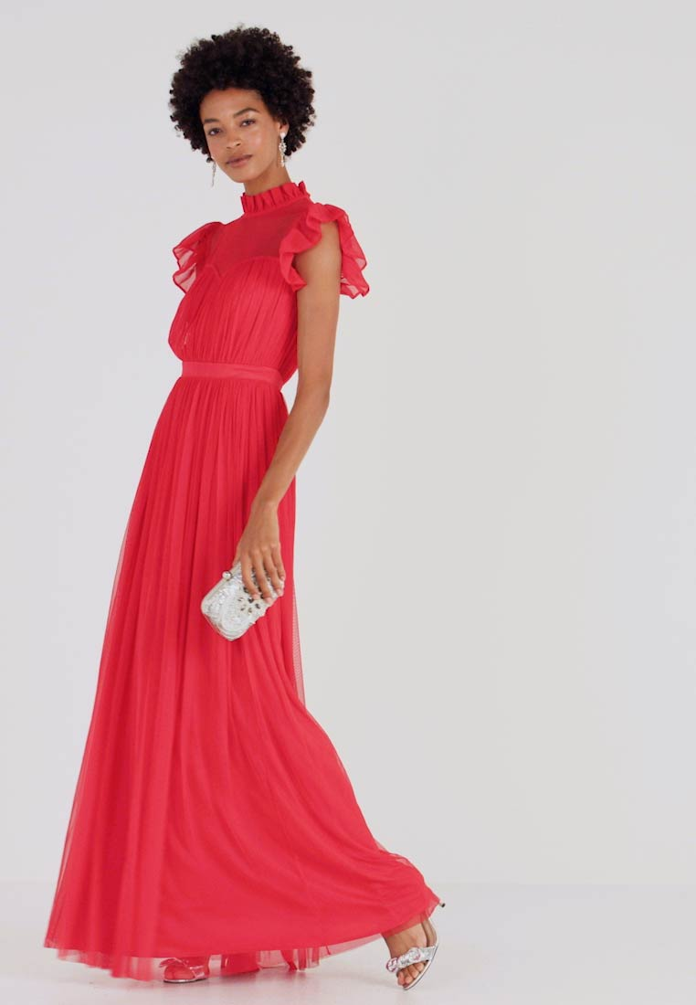 Anaya with love - HIGH NECK GATHERED DRESS WITH RUFFLE DETAILS - Robe de cocktail - red