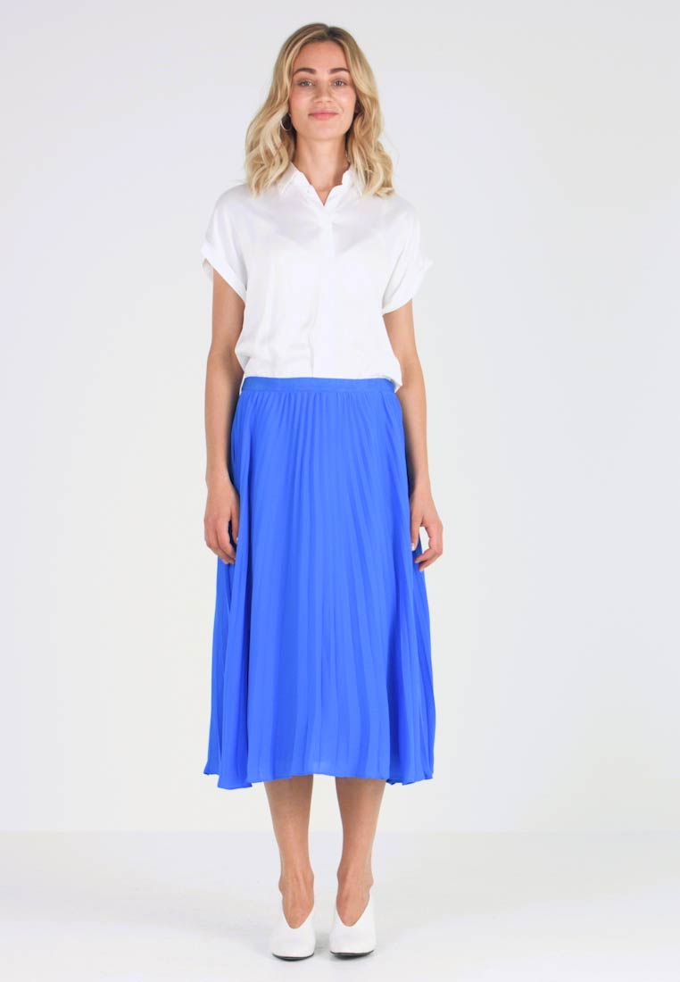 Banana Republic - PLEATED SOLID MIDI SKIRT - A-line skirt - brilliant blue