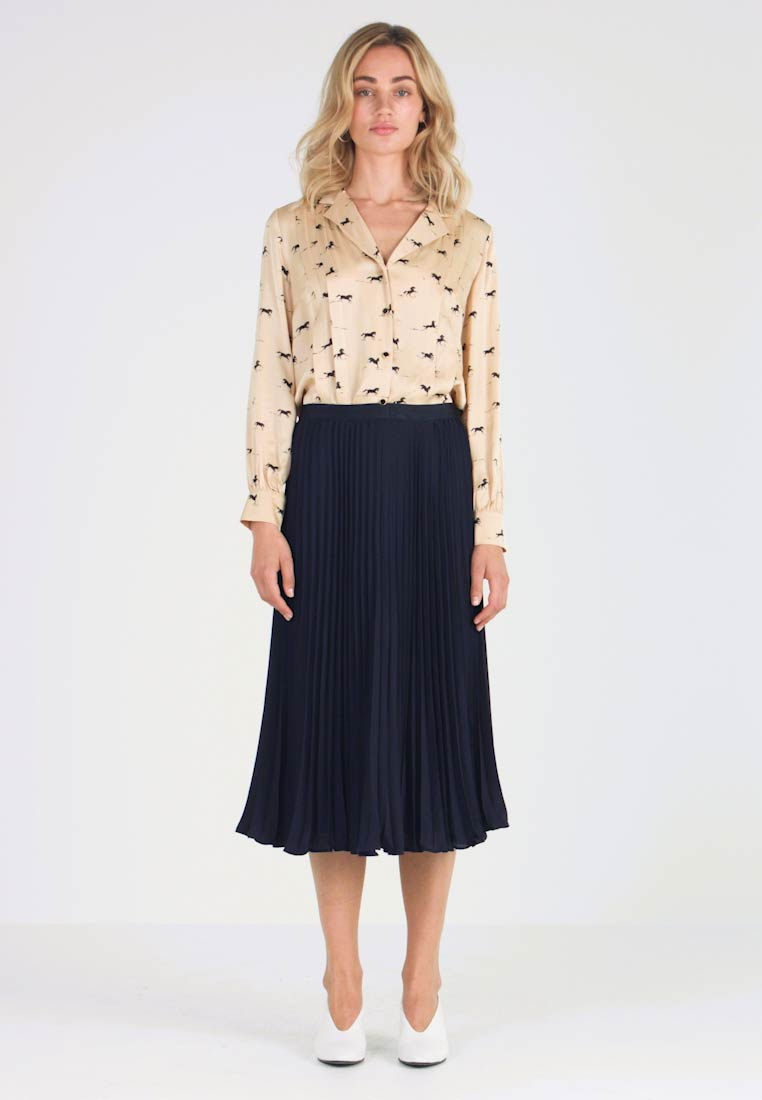 Banana Republic - PLEATED SOLID MIDI SKIRT - A-line skirt - navy