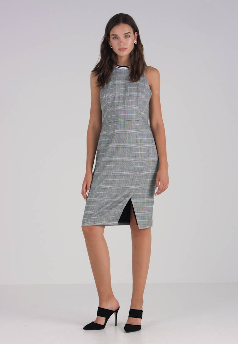 Banana Republic - TRIM SHEATH DRESS PLAID - Robe fourreau - light grey