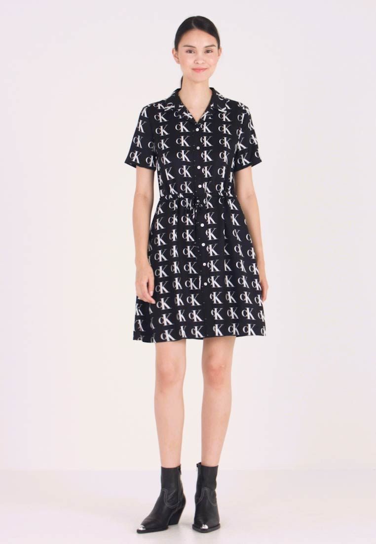 Calvin Klein Jeans - DINER DRESS - Shirt dress - black/white