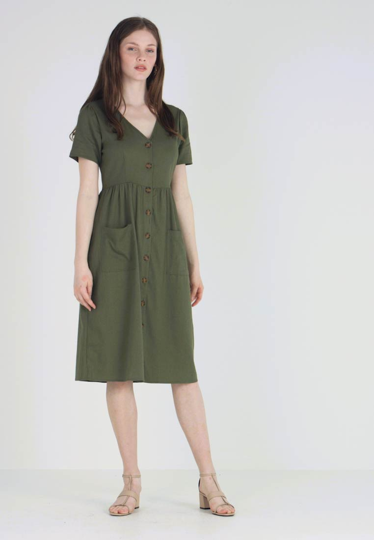 Cotton On - CAMILA BUTTON THROUGH MIDI DRESS - Vestido camisero - burnt olive