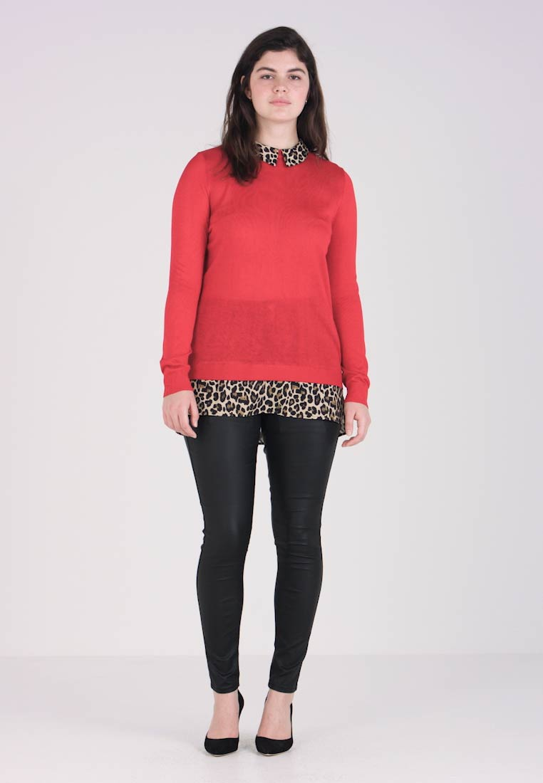 CAPSULE by Simply Be - 2 IN 1 LEOPARD CUFFS AND COLLAR JUMPER - Jersey de punto - red