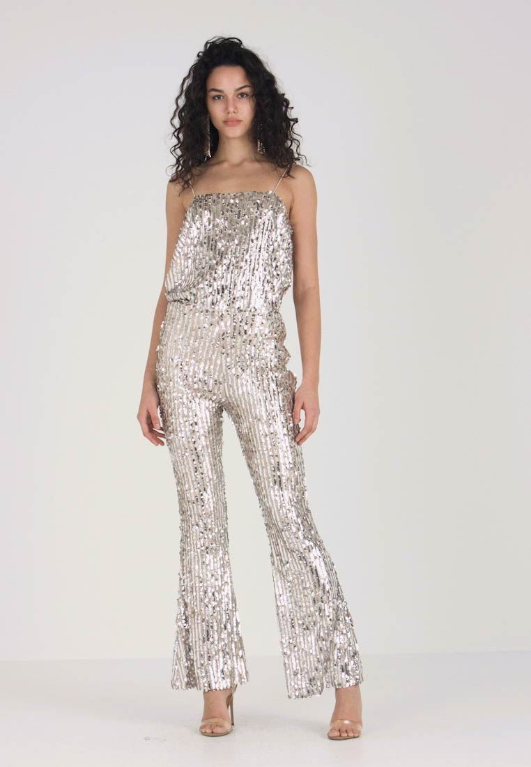 Club L London - STRIPE SEQUIN KICK FLARE TROUSERS - Pantaloni - silver