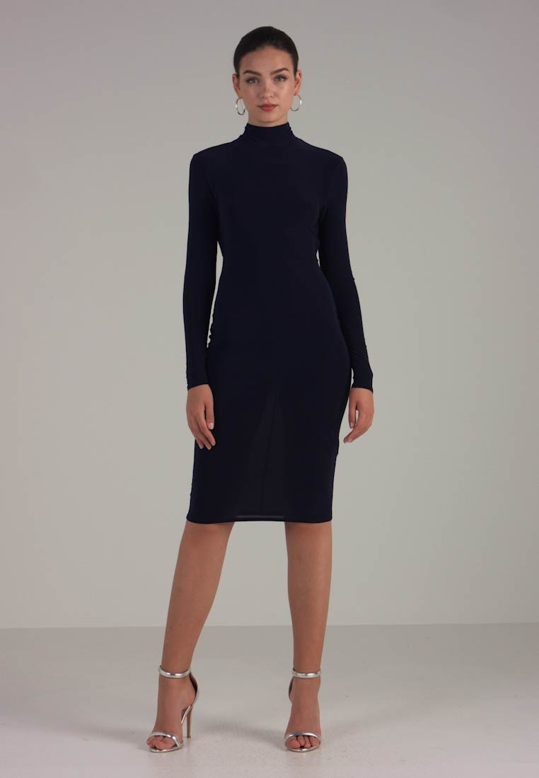 Club L London - OPEN BACK RUCHED LONG SLEEVE BODYCON DRESS - Tubino - navy