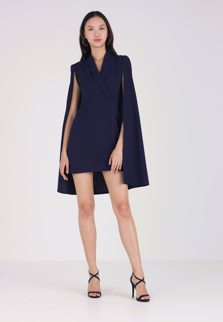 Club L London - BLAZER CAPE DETAIL DRESS - Robe fourreau - navy