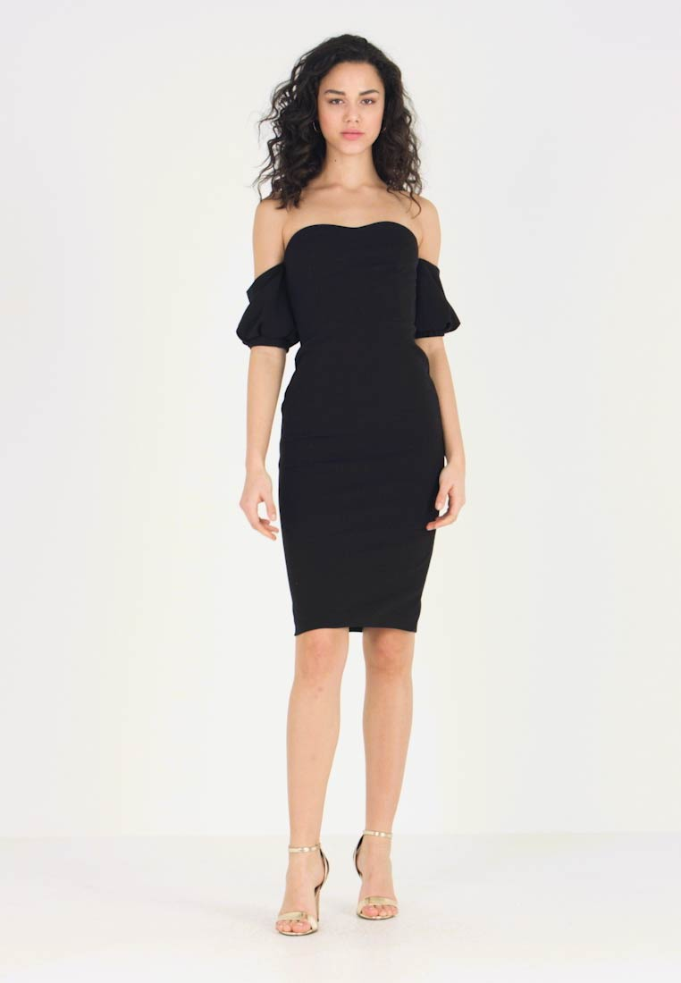 Club L London - SLEEVERS BARDOT MIDI DRESS - Shift dress - black