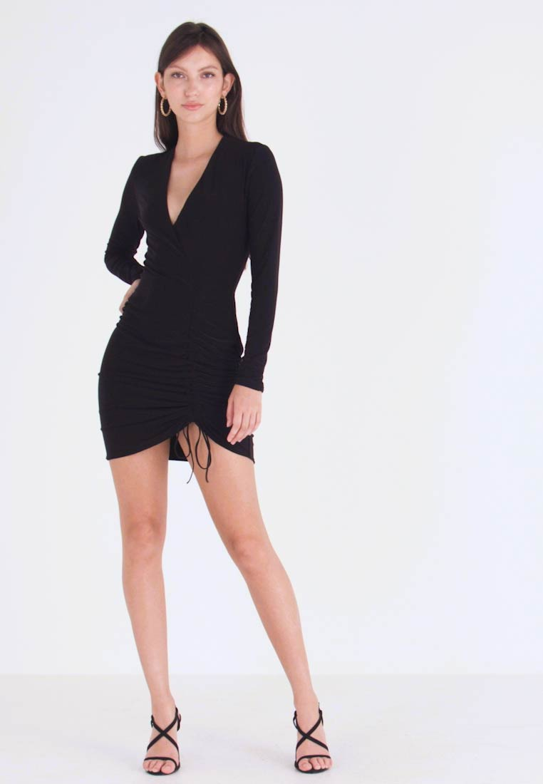 Club L London - LONG SLEEVE RUCHED MINI DRESS - Cocktailkleid/festliches Kleid - black