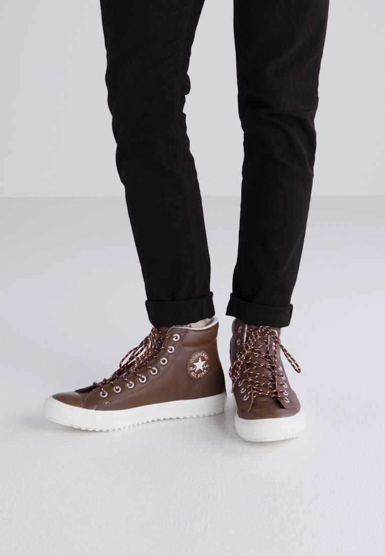 Converse PC TUMBLED LEATHER - HI - High-top trainers - dark clove/egret -  Zalando.co.uk