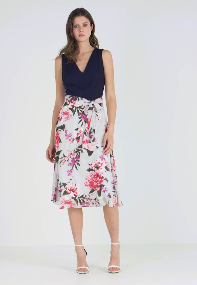 Dorothy Perkins Tall - SLEEVELESS FLORAL VNECK COLOUR BLOCK TULIP MIDI DRESS - Cocktailkleid/festliches Kleid - grey