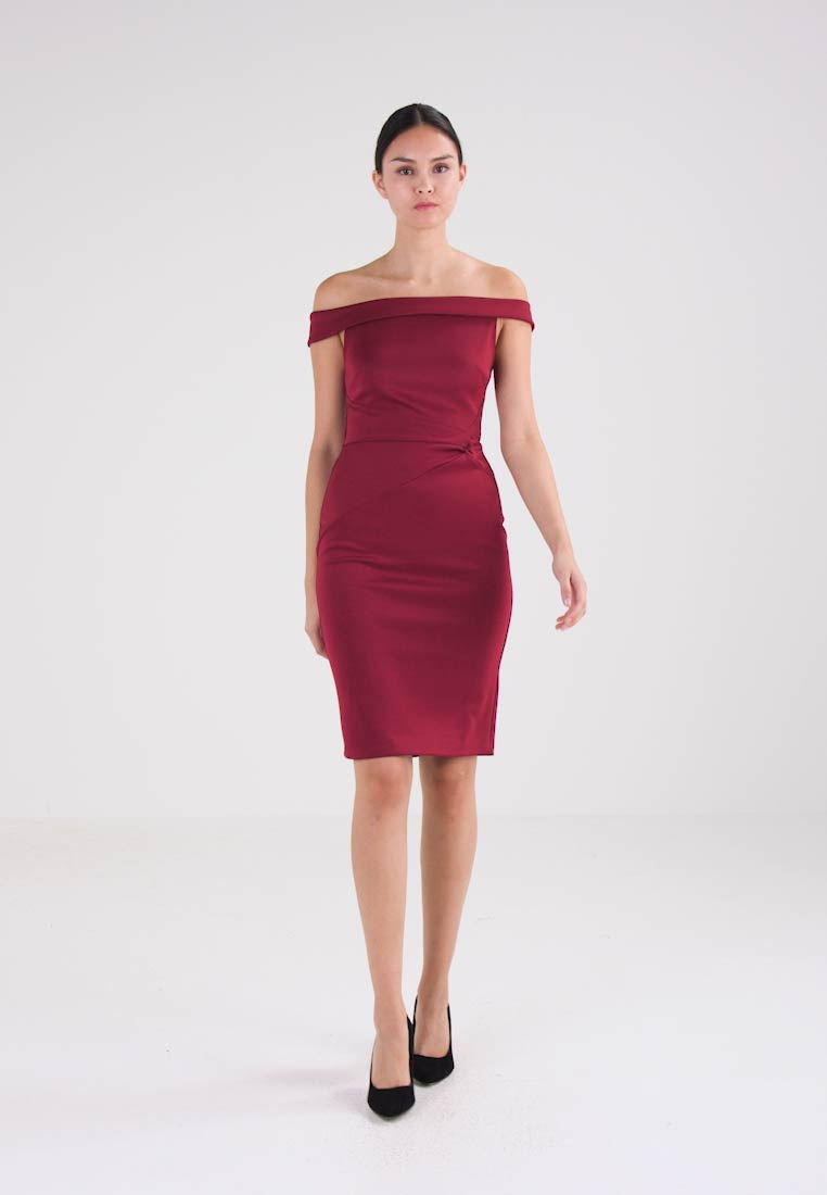 Dorothy Perkins BARDOT KNOT SIDE PENCIL - Shift dress - wine - Zalando.co.uk