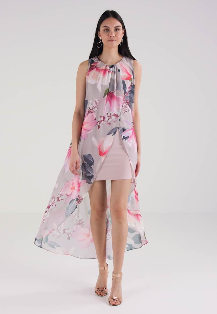Dorothy Perkins SLESS FLORAL TRAPEZE LAYER TO BE - Sommerkjole - light grey