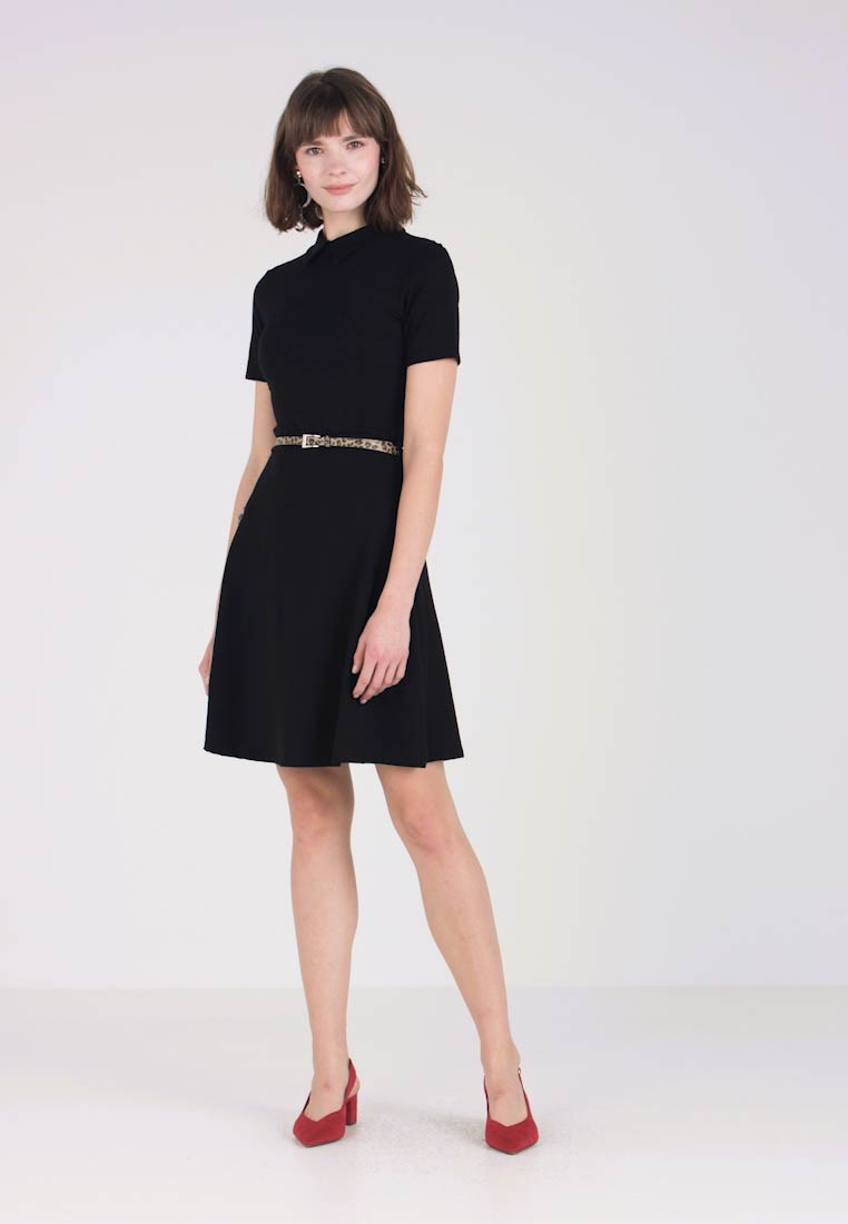 Vestido Belt Animal Black Fit And Collared Ligero Flare RUqCx