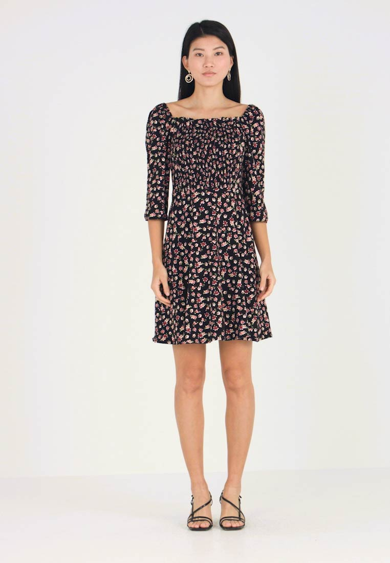 Dorothy Perkins - FLORAL GYPSY SHIRRED DRESS - Jerseykjole - black