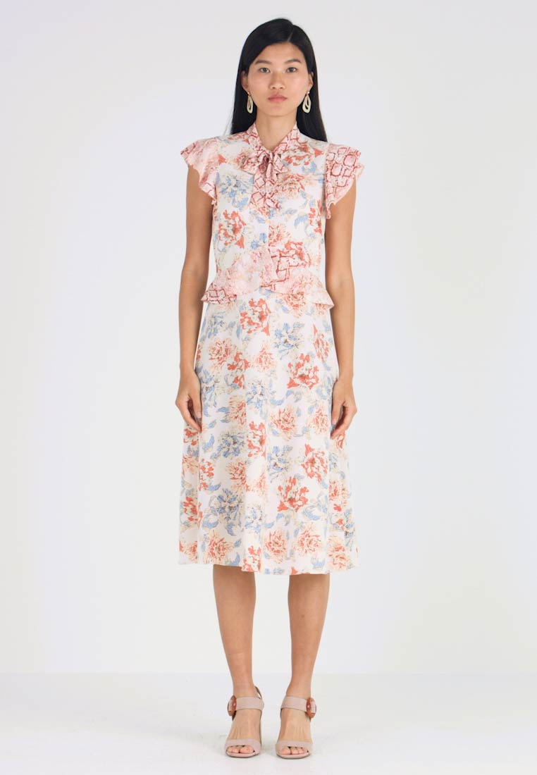 Dorothy Perkins - MIX AND MATCH SNAKE PRINT PUSSYBOW MIDI - Freizeitkleid - pink