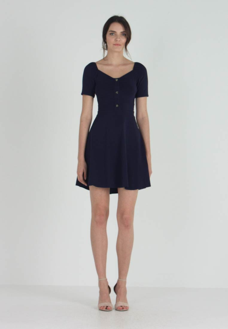 Dorothy Perkins - SWEETHEART BUTTON DETAIL - Jerseykleid - navy