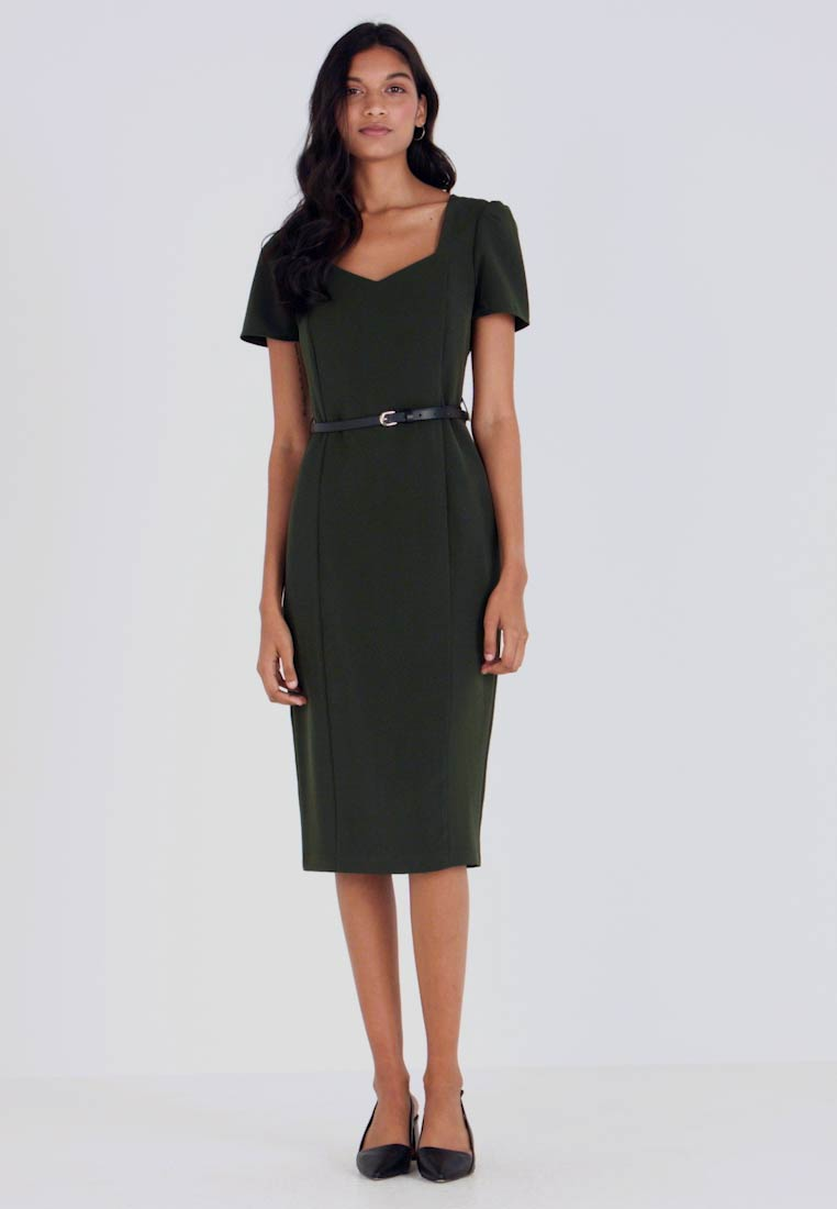 Dorothy Perkins - NECKLINE ROUCHED SLEEVE DAMSON - Shift dress - green