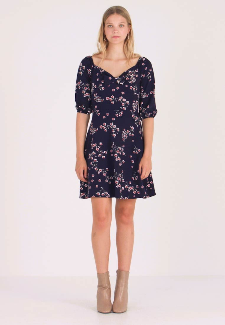 Dorothy Perkins - SLEEVE GYPSY TIE FRONT FIT FLARE - Jerseykleid - navy