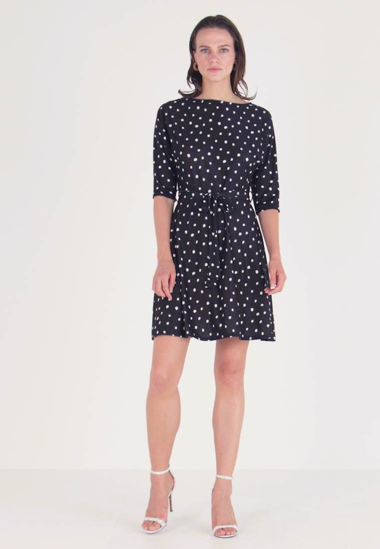 Dorothy Perkins - NON SPOT BATWING ITY FIT AND FLARE - Jerseykjole - black