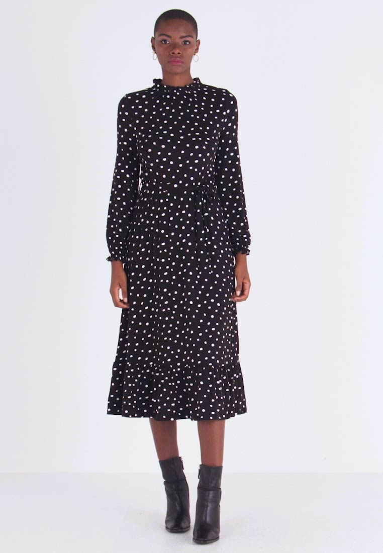 Dorothy Perkins - SPOT HIGH RUFFLE NECK MIDI - Maxikjole - black