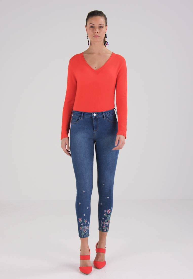 Dorothy Perkins FLORAL EMBROIDED HEM DARCY - Jeans Skinny Fit - blue