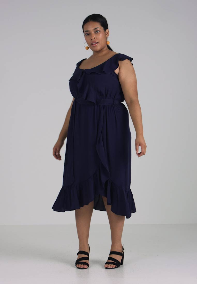 Day Perkins Navy Dress Ruffle Wrap Curve Dorothy Midi aRApwq