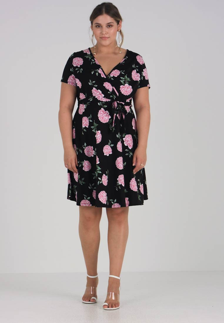 WRAP SHORT FLORAL Jerseykjole SLEEVE Dorothy Perkins PRINT FIT Curve DRESS AND FLARE anYWR
