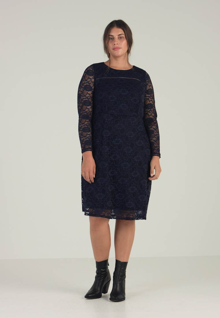 Navy Party Fit Dress Perkins Cocktail Dorothy Curve Flare Long Sleeve And qCRvvUPx1w