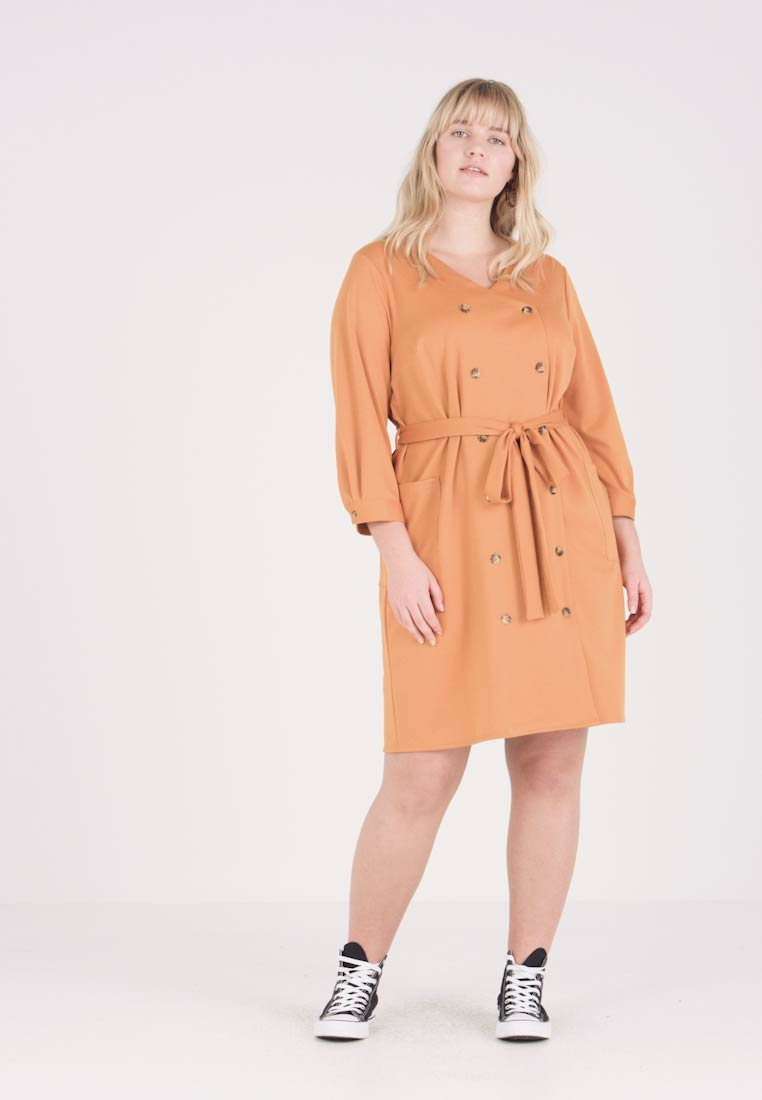 Dorothy Perkins Curve - PONTE DOUBLE BREASTED DRESS - Jerseykleid - ochre