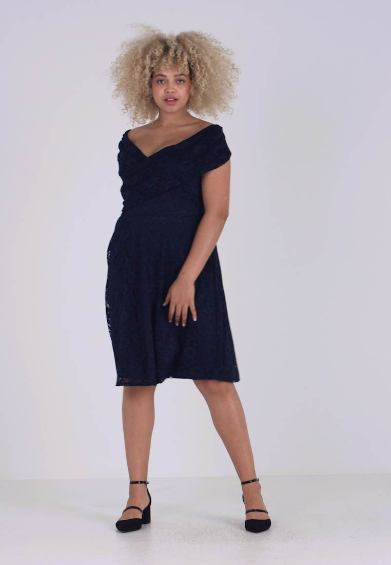 Dorothy Perkins Curve - FIT AND FLARE DRESS - Cocktailkleid/festliches Kleid - navy