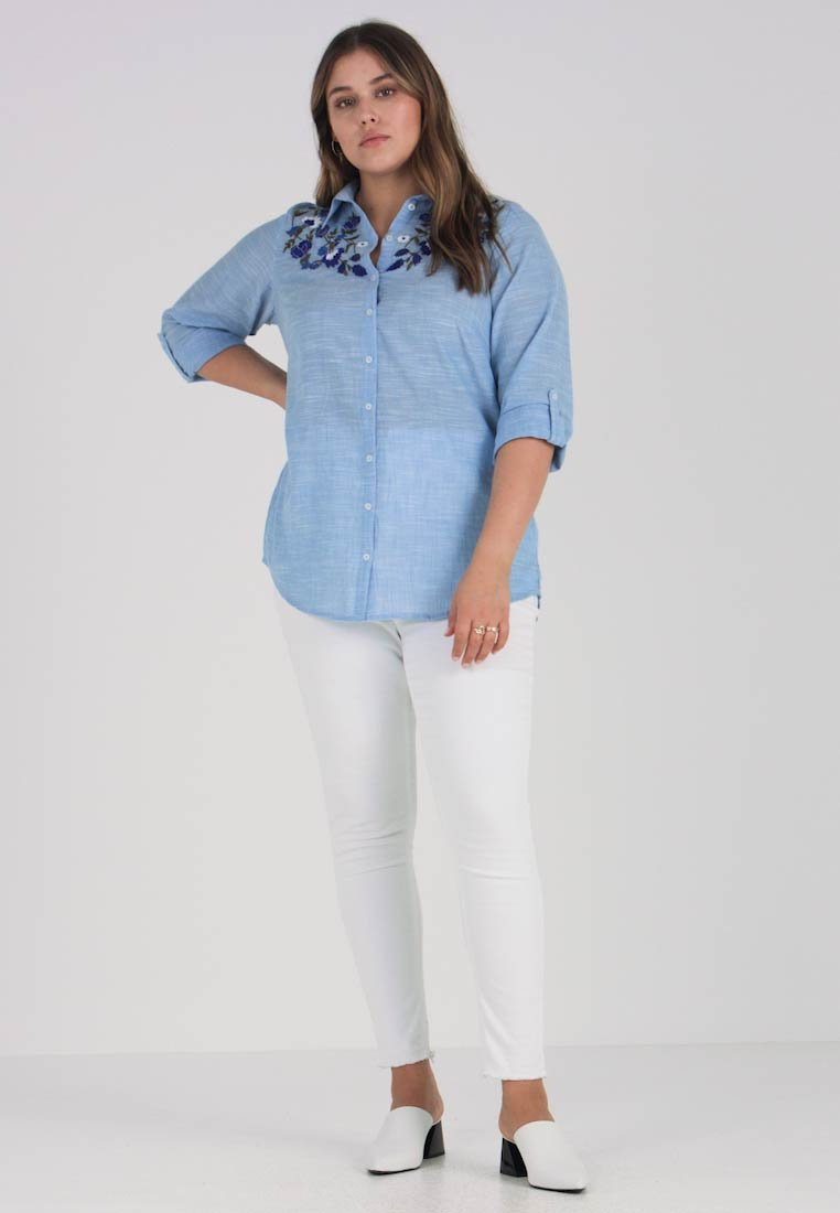 Women's Blue Shirt Embroidered Perkins Curve Dorothy wAqtfzf