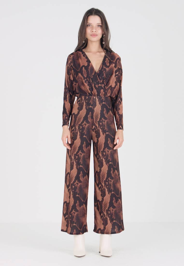 Dorothy Perkins Petite - CHOCOLATE SNAKE PALAZZO TROUSER - Kalhoty - brown