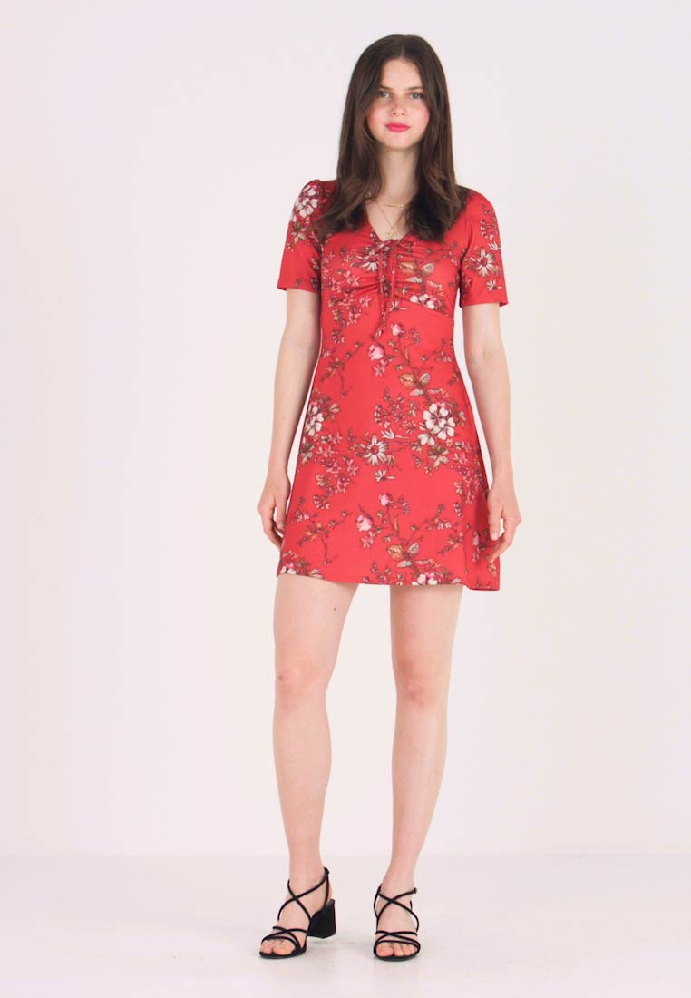Even&Odd - DITSY_MINI_DAYDRESS - Jerseykjoler - red floral aop