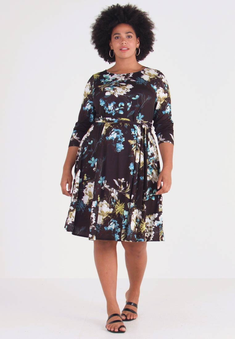 Evans - FLORAL FIT AND FLARE DRESS - Jersey dress - multi
