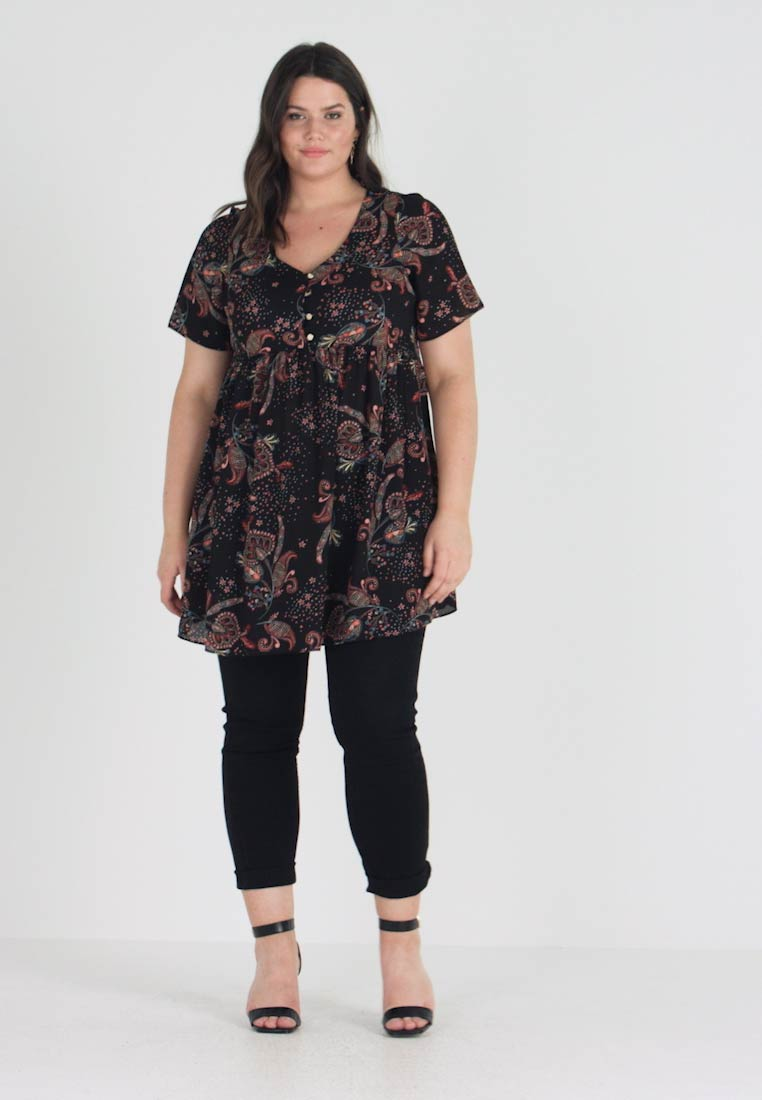 Evans - PAISLY GATHERD TUNIC - Bluse - black