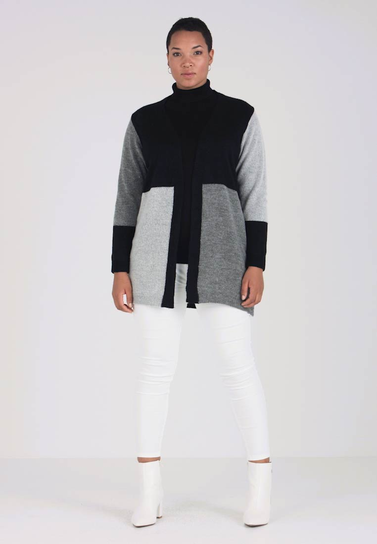 Strickjacke Longline Cardi Block Grey Black Evans Colour amp; gIqZSS