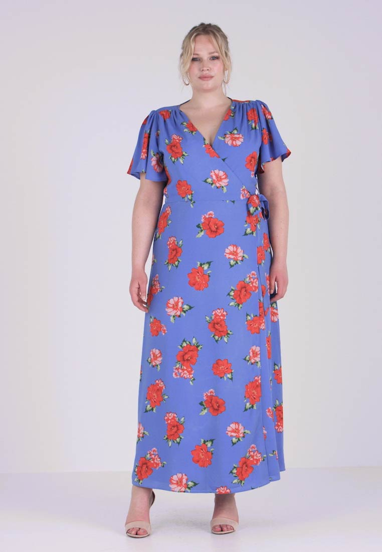 Fashion Union Plus - FLORAL PRINT WRAP DRESS - Maxi-jurk - blue sky
