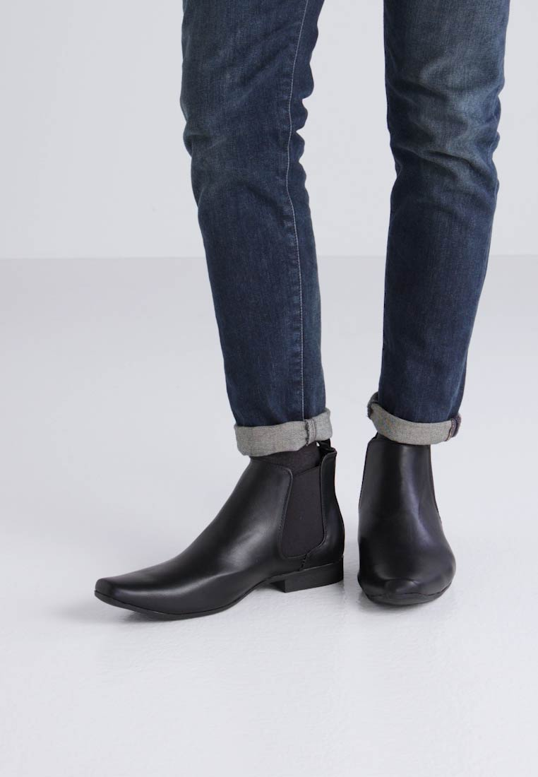 Feud Toe Black Ankle Chelsea Boots Classic London Chisel rr7qv