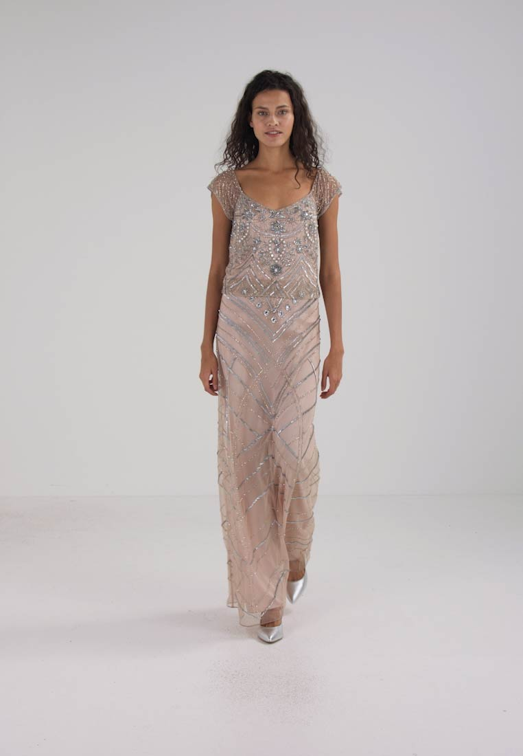 Frock and Frill DROP WAIST ALL OVER SEQUIN MAXI DRESS - Robe de cocktail - nude